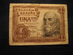 1 Peseta 1953 SPAIN Circulated Damaged Banknote Billet Billete - [ 3] 1936-1975 : Régence De Franco