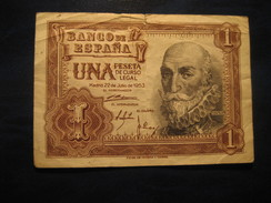 1 Peseta 1953 SPAIN Circulated Damaged Banknote Billet Billete - [ 3] 1936-1975 : Regency Of Franco