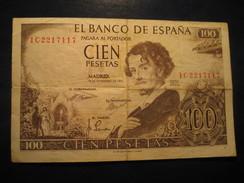 100 Pesetas 1965 SPAIN Circulated Banknote Billet Billete - [ 3] 1936-1975 : Regency Of Franco
