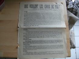 Tract  Que Veulent Les Crouix De Feu Ligue Entre Deux Guerre - Documenti Storici