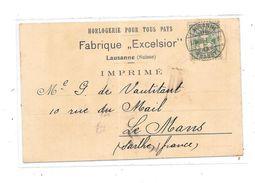 10401 - LAUSANNE : Carte Horlogerie  Fabrique EXCELSIOR - VD Vaud