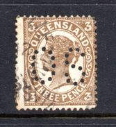 T1241 - QUEENSLAND ,  3 Pence Usato . Annullo . Servizio Punctured OS - 1860-1909 Queensland