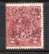 T1398 - NEW SOUTH WALES  AUSTRALIA , Head  Servizio Perforato OS NSW  : Il 2  Pence  Fil  Crown On A Usato - 1850-1906 New South Wales