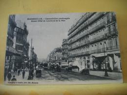 B15 4058 - CPA 1912 -13 MARSEILLE - CANNEBIERE PROLONGEE GRAND HOTEL DU LOUVRE ET DE... (+ DE 20000 CARTES MOINS 1 EURO) - The Canebière, City Centre