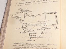 Schweiz Suisse Zürich Ragatz Boden See Innsbruck Meran Bormio Tirano St. Moritz Austria Italy Map Karte 1886 - Landkarten
