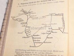 Schweiz Suisse Zürich Ragatz Boden See Innsbruck Meran Bormio Tirano St. Moritz Austria Italy Map Karte 1886 - Cartes Géographiques