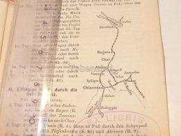 Schweiz Suisse Chiavenna St. Moritz Boden See Lindau Chur Bellagio Ragatz Boden See Map Karte 1886 - Cartes Géographiques