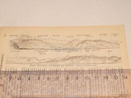Alpen Panorama Lindau Schweiz Suisse Map Karte 1886 - Landkarten