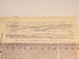 Alpen Panorama Friedrichshafen Schweiz Suisse Map Karte 1886 - Landkarten