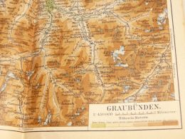 Graubünden Chur Brigels Olivone Disentis Tinzen Samaden Trimmis Schweiz Suisse Map Karte 1886 - Landkarten