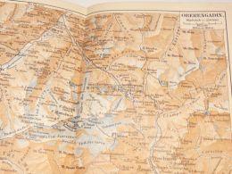 Oberengadin Poschiavo Silvaplana Maloja Casaccia St. Moritz Schweiz Suisse Map Karte 1886 - Landkarten