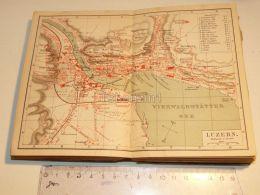 Luzern Vierwaldstatter See Schweiz Suisse Map Karte 1886 - Landkarten