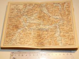 Luzern Vierwaldstatter See Brunnen Flüelen Stanz Egeri Lowerz Steinen Sisikon Schweiz Suisse Map Karte 1886 - Landkarten
