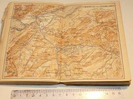 Interlaken Faulhorn Grindelwald Lauterbrunnen Ringgenberg Goldswyl Schweiz Suisse Map Karte 1886 - Landkarten
