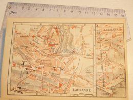 Lausanne Ouchy Schweiz Suisse Map Karte 1886 - Landkarten