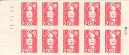FRANCE - BOOKLET / CARNET, Yvert 2720-c2a, 1992, 10 X 2.50 Marianne De Briat, Red - Carnets