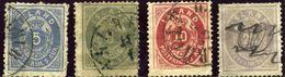 ISLANDE - ISLAND - COLECTION D'ANCIENS 1876 - Numéros 6 à 10 - 4 TIMBRES Oblitérés - 1873-1918 Dépendance Danoise