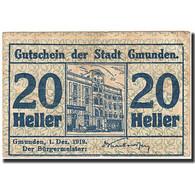 Billet, Autriche, Gmunden, 20 Heller, Batiment, 1919, 1919-12-01, Bleu, TB - Autriche