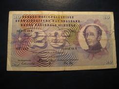 20 Francs 1969 SWITZERLAND Suisse Circulated Banknote Billet Billete - Switzerland