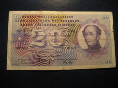 20 Francs 1969 SWITZERLAND Suisse Circulated Banknote Billet Billete - Suiza