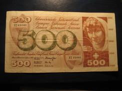 500 Francs 1969 SWITZERLAND Suisse Circulated Banknote Billet Billete - Switzerland