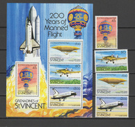 St. Vincent - Grenadines 1983 Space, Aviation, Zeppelin Set Of 4 + S/s MNH - Space
