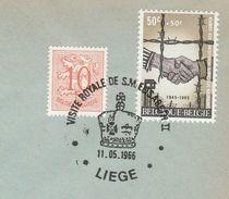 1966 BELGIUM COVER EVENT Pmk ROYAL VISIT  QUEEN ELIZABETH II,  Franked WWII CAMP LIBERATION Stamps Royalty - 2. Weltkrieg