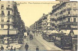 BRUXELLES  PLACE FONTAINAS ET BOULEVARD ANSPACH   TRAM !!! - Places, Squares