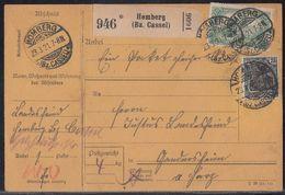 DR Paketkarte Mif Minr.104, 113 Homberg 23.3.21 Gel. Nach Gandersheim - Deutschland