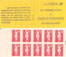 FRANCE - BOOKLET / CARNET, Yvert 2874-c1, 1994, 10 X TVP Marianne De Briat, Red - Markenheftchen