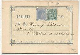 ENTERO POSTAL ALFONSO XII A PALMA MALLORCA FECHADO BARCELONA 1877 IMPUESTO DE GUERRA - Stamped Stationery