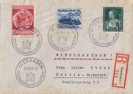 DR R-Brief Mif Minr.697,700,744 SST Wiesbaden 30.12.40 Waffenstillstandskommision - Briefe U. Dokumente
