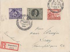 DR R-Brief Mif Minr.834,835,849 Klagenfurt 17.6.43 Gel. Nach Graz - Briefe U. Dokumente