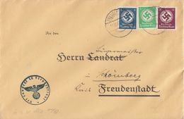 DR Brief Dienst Mif Minr.133,134,139 Freudenstadt 19.12.38 - Dienstpost