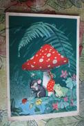 "OLD USSR Postcard  - ""LITTLE RAIN"" By Byalkovskaya -   Champignon  - MUSHROOM 1956 Rare! Bee - Frog - Champignons"