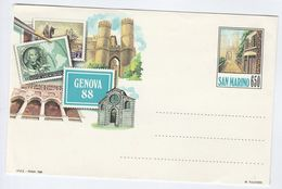 1988 San Marino CHRISTOPHER COLUMBUS  EXHIBITION Postal  STATIONERY COVER  Stamps - Postal Stationery