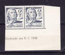 Wuerttemberg, Mi 1 Br Schiller, Paar Mit Druckdatum 9.1.1948, Postfrisch (45322) - Zone Française