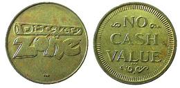 03919 GETTONE TOKEN JETON ARCADE PLAY MACHINE DISCOVERY ZOME NO CASH VALUE - USA