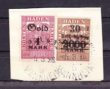 Dokumentenstueck, Kostenmarken Baden, 30 Pfg, 1 Goldmark, 1926 (45332) - Gebührenstempel, Impoststempel