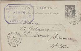Carte Commerciale 1895 / Entier / P. ROUGIEUX / Tapissier / 54 Lonqwy Haut - Maps