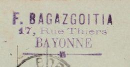 Carte Lettre Commerciale 1898 / Entier / F. BAGAZGOITIA / Meubles / 17 Rue Thiers / 64 Bayonne - Maps