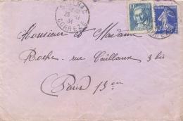 France 1934 Cover With 40 C. Joseph Marie Jacquard + 10 C. Semeuse - Tessili