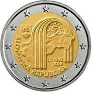 Slovakije 2018 2 Euro Comm. 25 Ste Verjaardag Van De Republiek  UNC Uit De Rol - Du Rouleaux !! - Slovaquie