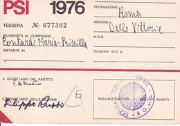 Partito Socialista Italiano PSI - Membership Card - Roma - 1976 (32498) - Historische Dokumente
