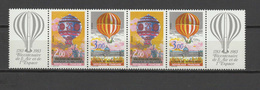 France 1983 Space, Aviation, Balloons Strip Of 4 Stamps And 2 Labels MNH - Space