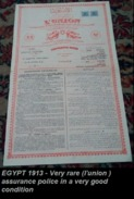 EGYPT 1913 - Very Rare (l'union )assurance Police In A Very Good Condition - Bank & Insurance
