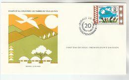 1982 RWANDA INDEPENDENCE FDC PEACE Special Cover International Postmasters Society , Stamps Bird - Rwanda