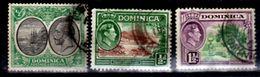 1923, 1938 Dominica, Commonwealth, Scott #65, 97 And 99, Used - Dominica (1978-...)