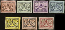 Vatican 1929, 5-75 C Papal Crest Stamps, Crossed Keys, Unused - Vatican