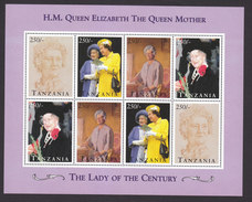 Tanzania, Scott #1348, Mint Never Hinged, Queen Mother, Issued 1995 - Tanzania (1964-...)